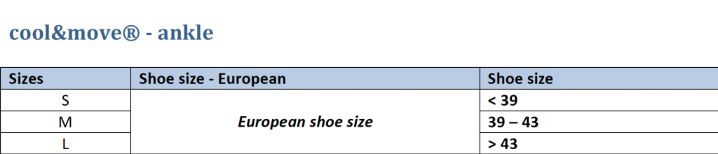 ankle sizes